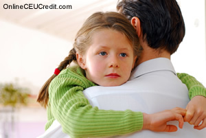Sad Girl with Dad Helping Parents with Grieving Children social work continuing ed
